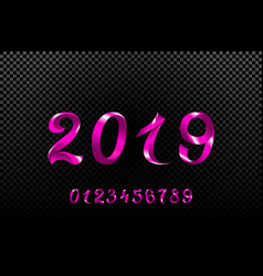 2019 pink new year sign with glitter and loading vector image