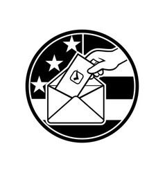 American voter voting using postal ballot during vector