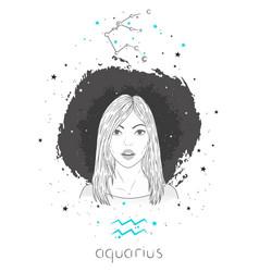 Aquarius zodiac sign and constellation vector