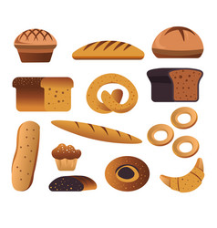 Bakery products bread and pastry food isolated vector