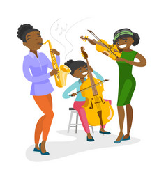 Band of musicians playing the musical instruments vector