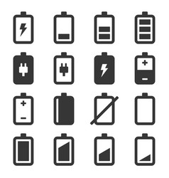 battery icons set on white background vector image