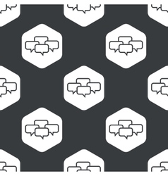 Black hexagon chat conference pattern vector