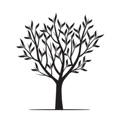 black trees with leafs vector image