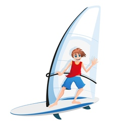 Boy on a sail board vector
