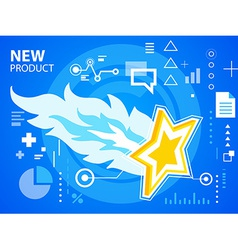Bright fire and star on blue background for vector