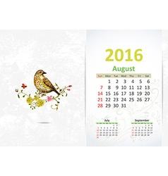 Calendar for 2016 August vector image