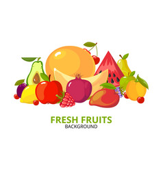 cartoon fruits background colorful healthy food vector image