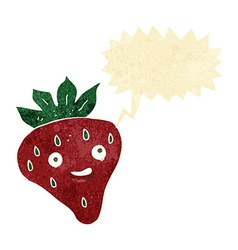 Cartoon happy strawberry with speech bubble vector