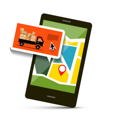 Cell phone with map and van with parcels vector