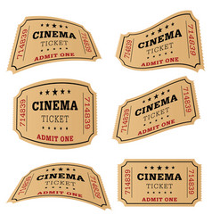 cinema ticket movie set vector image