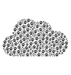 Cloud figure paw footprints icons vector