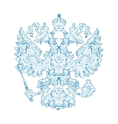 Coat of arms of Russia with blue pattern in vector