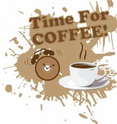 coffee cup with alarm clock vector image