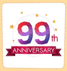 Colorful polygonal anniversary logo 2 099 vector