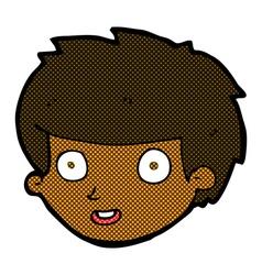 Comic cartoon happy boys face vector
