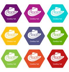 Cowboy hat icons set 9 vector