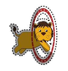 cute lion face icon vector image