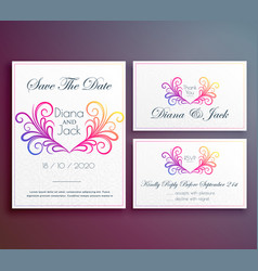 cute wedding invitation card with floral heart vector image