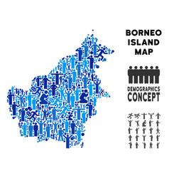 Demographics borneo island map vector