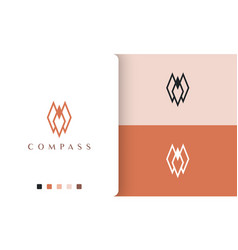 Direction or compass logo design with simple vector