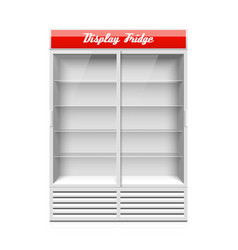 display fridge with two glass sliding doors vector image