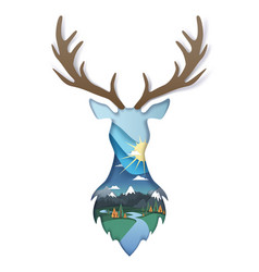 Double exposure layered paper cut wild deer vector