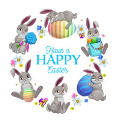 easter eggs bunnies and flowers frame vector image