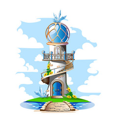 fairytale castle with a blue domed roof a balcony vector image