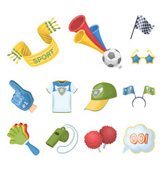 Fan and attributes cartoon icons in set collection vector