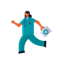 female doctor with first aid kit running to help vector image