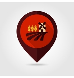 Field with a mill and wheat flat mapping pin icon vector image