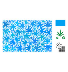 Filled rectangle mosaic of cannabis vector
