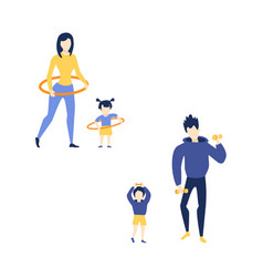 Flat mother girl father son doing exercise vector