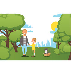 Flat people family walking at city park with vector