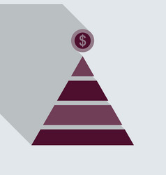 flat top of coin pyramid system bring and give vector image