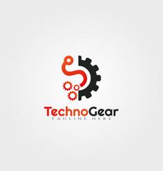 Gear technology logo design vector