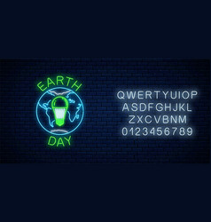 Glowing neon sign world earth day with globe vector