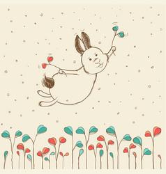 hand-drawn flying bunny vector image