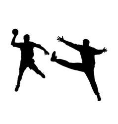 Handball player and goalkeeper vector