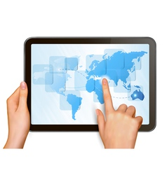 Hands and tablet with world map vector