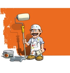 Handyman Wall Painter White Uniform vector image