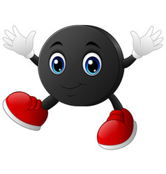 happy cartoon hockey puck character with smiling r vector image