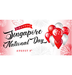 happy singapore national day banner vector image