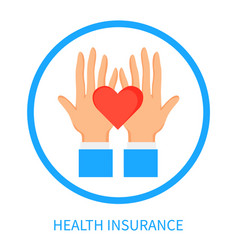 Health insurance logotype with hands and heart vector