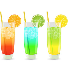 Highball cocktail set vector