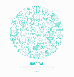 Hospital concept in circle with thin line icons vector