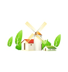 icon house and windmill vector image
