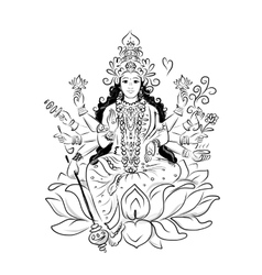 Indian goddess Shakti sketch for your design vector