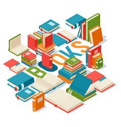 Isometric books banner for library or bookstore vector